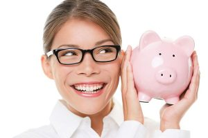 LASIK Price Singapore - Lee Hung Ming Eye Centre. Girl with glasses piggy bank savings LASIK.